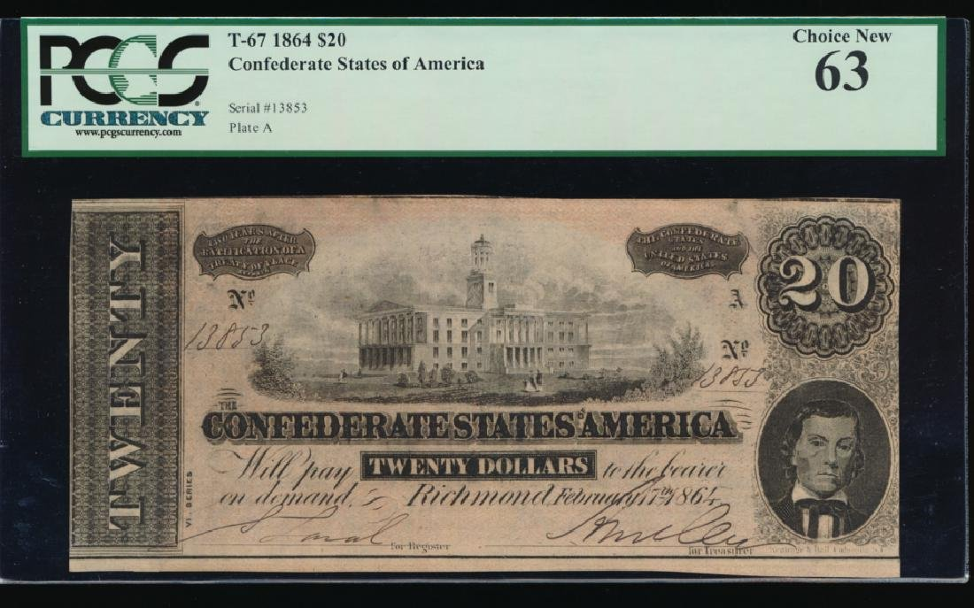 1864 $20 Confederate States of America Note PCGS 63