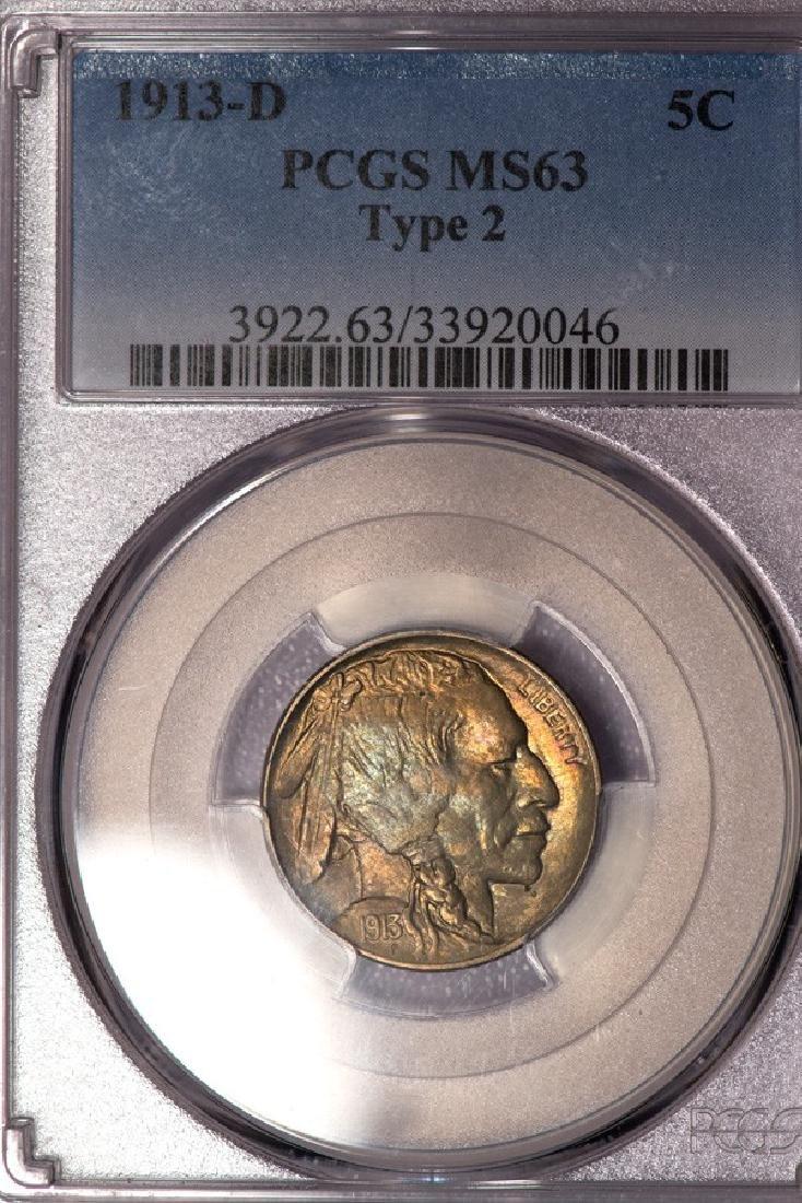 1913-D Buffalo Type 2 Nickel PCGS MS63
