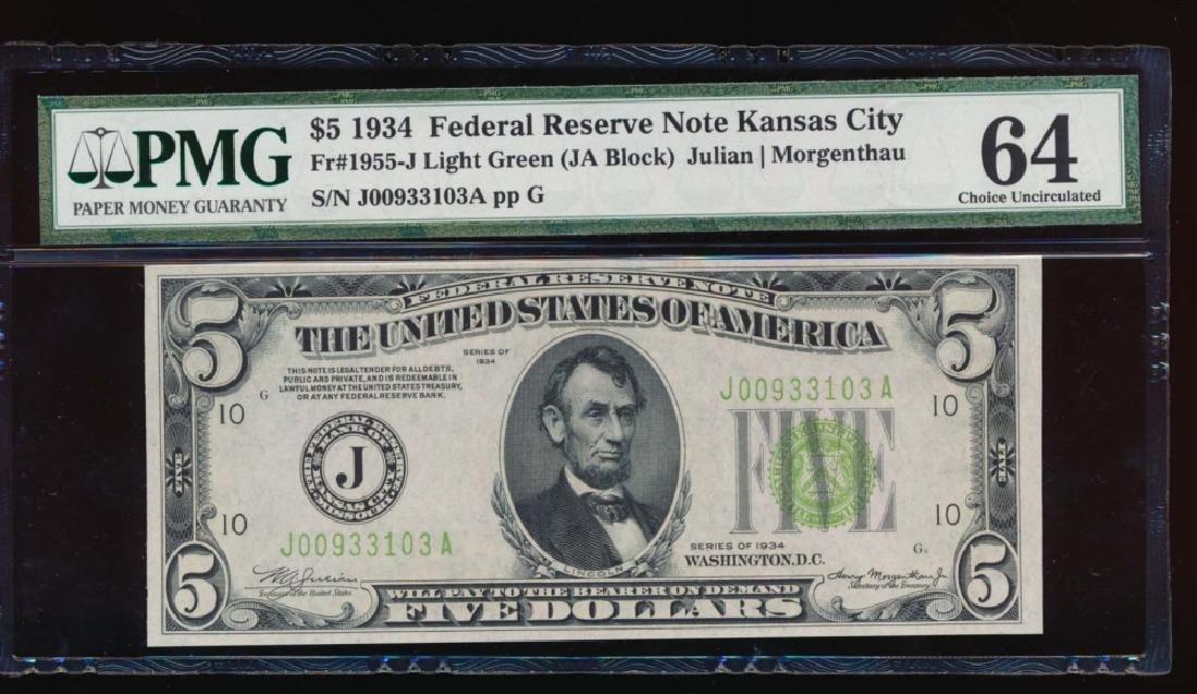 1934 $5 Kansas City Federal Reserve Note PMG 64