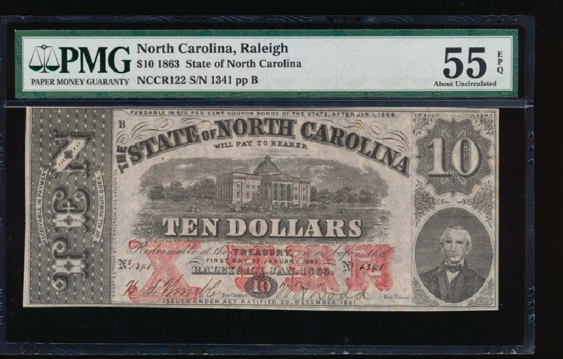 1863 $10 North Carolina Obsolete Note PMG 55EPQ