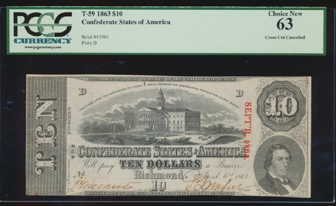 1863 $10 Confederate States of America Note PCGS 63