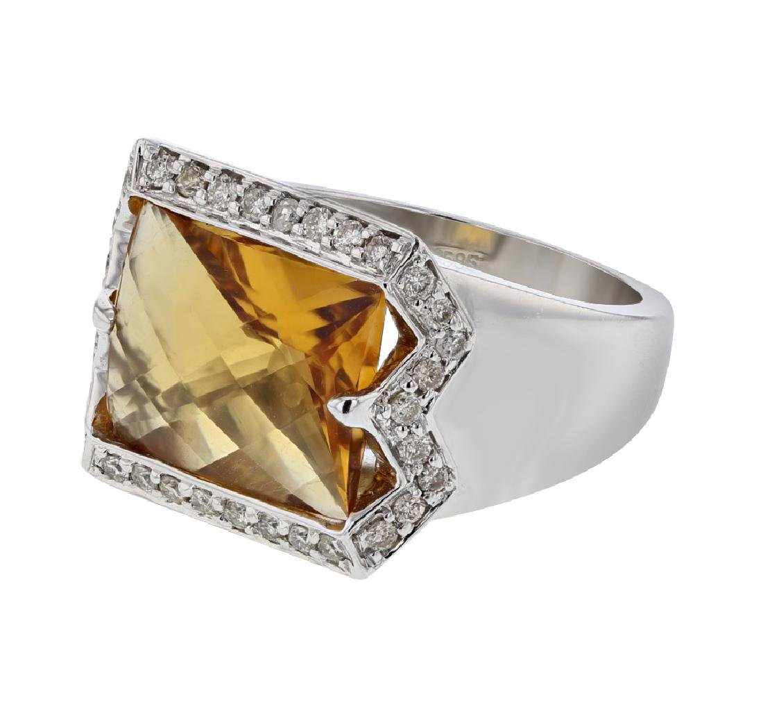 14KT White Gold 5.20ct Citrine and Diamond Ring
