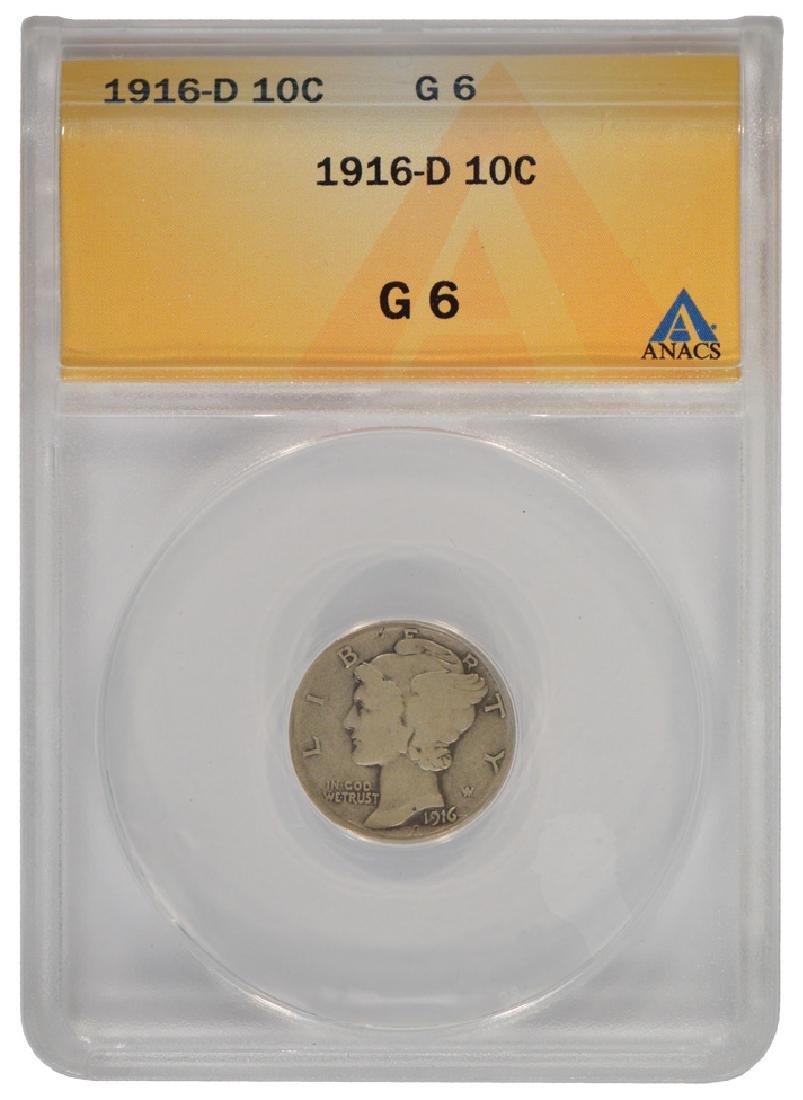 1916-D Mercury Dime ANACS G6