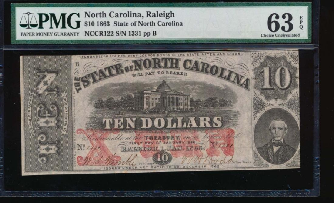 1863 $10 North Carolina Obsolete Note PMG 63EPQ