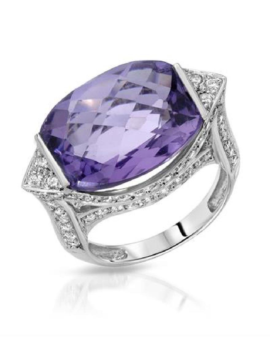 18KT White Gold 10.83ct Amethyst and Diamond Ring