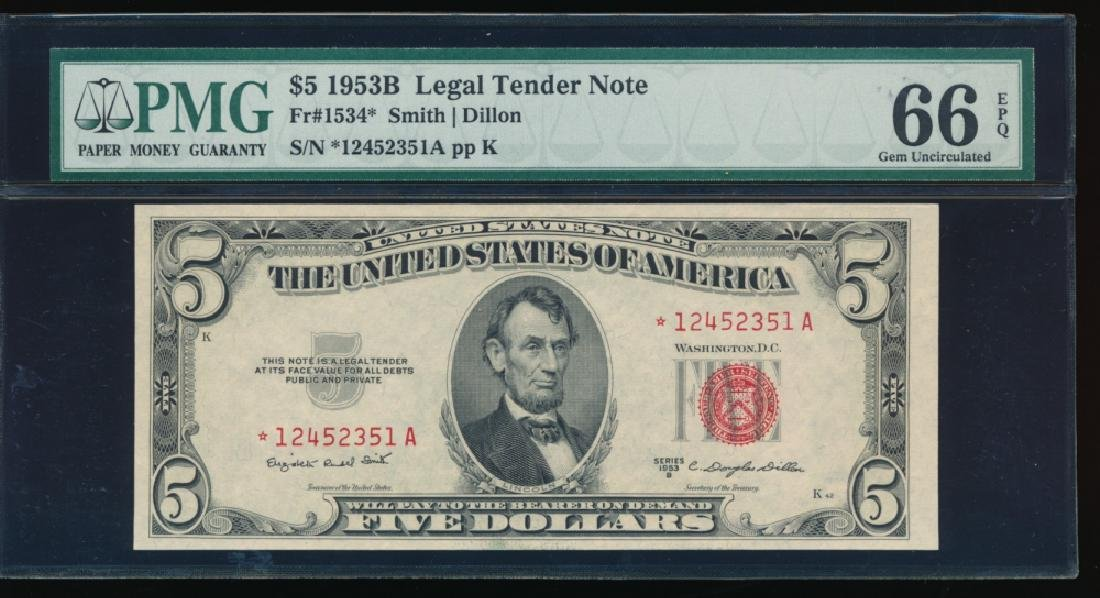 1953B $5 Legal Tender Note PMG 66EPQ