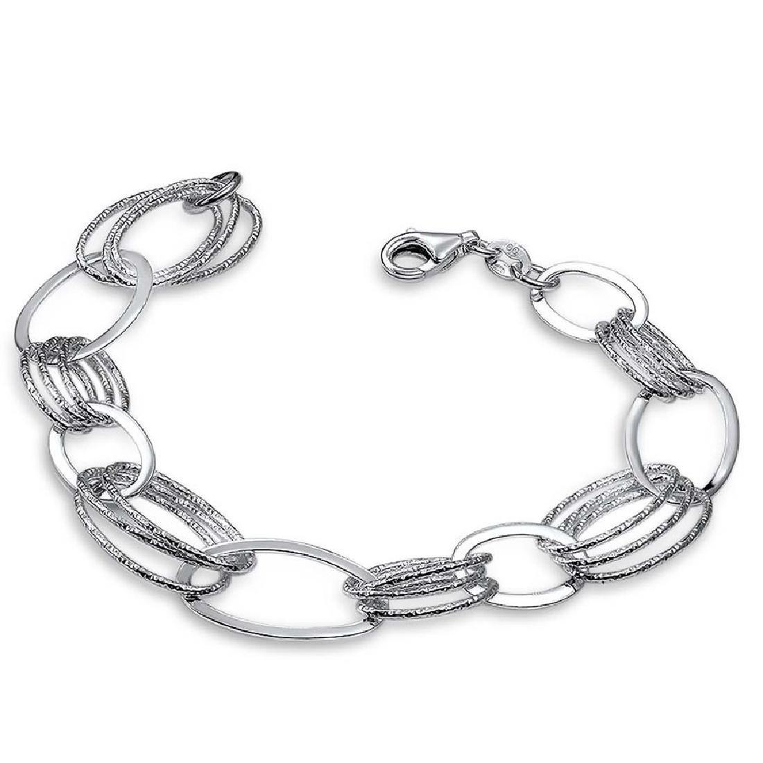 Sterling Silver Polished & Textured Oval Link Bracelet