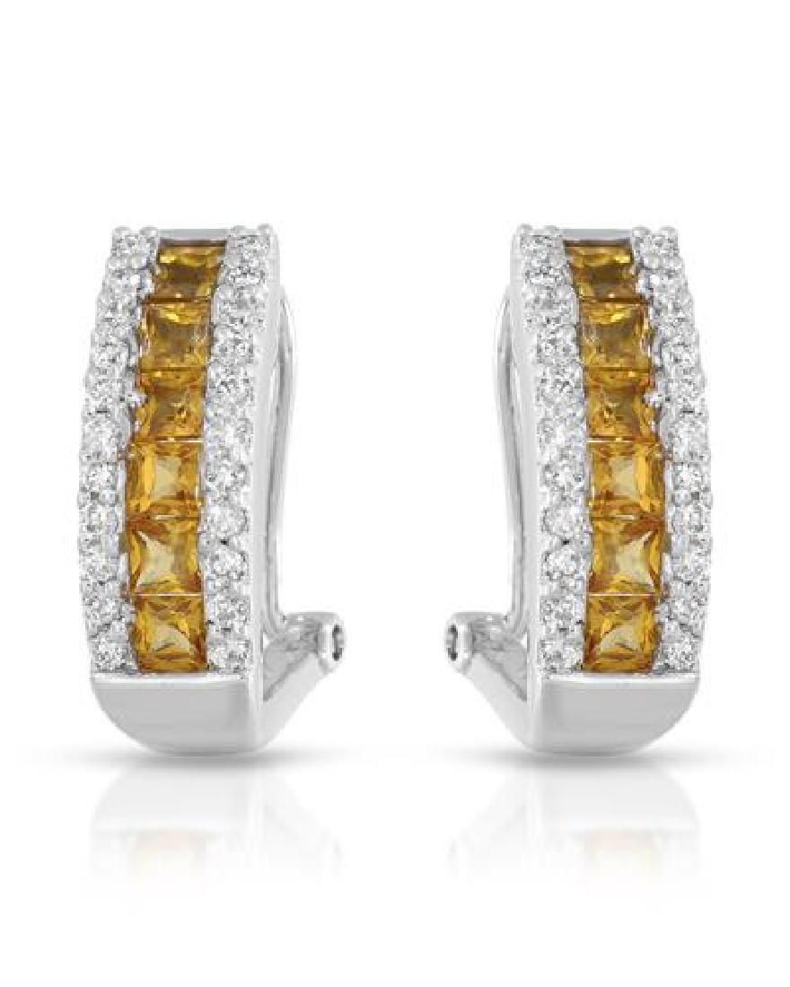 14KT White Gold 1.40ctw Yellow Sapphire and Diamond