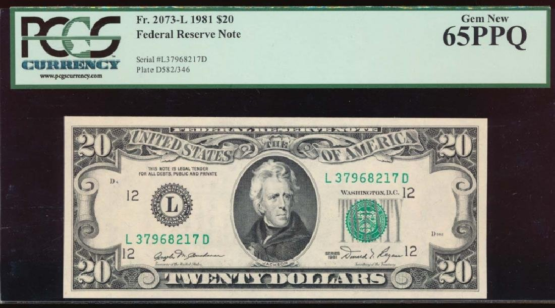 1981 $20 San Francisco Federal Reserve Note PCGS 65PPQ