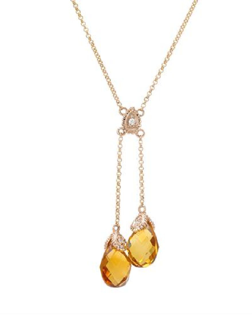 14KT Rose Gold 4.82ctw Citrine and Diamond Pendant with