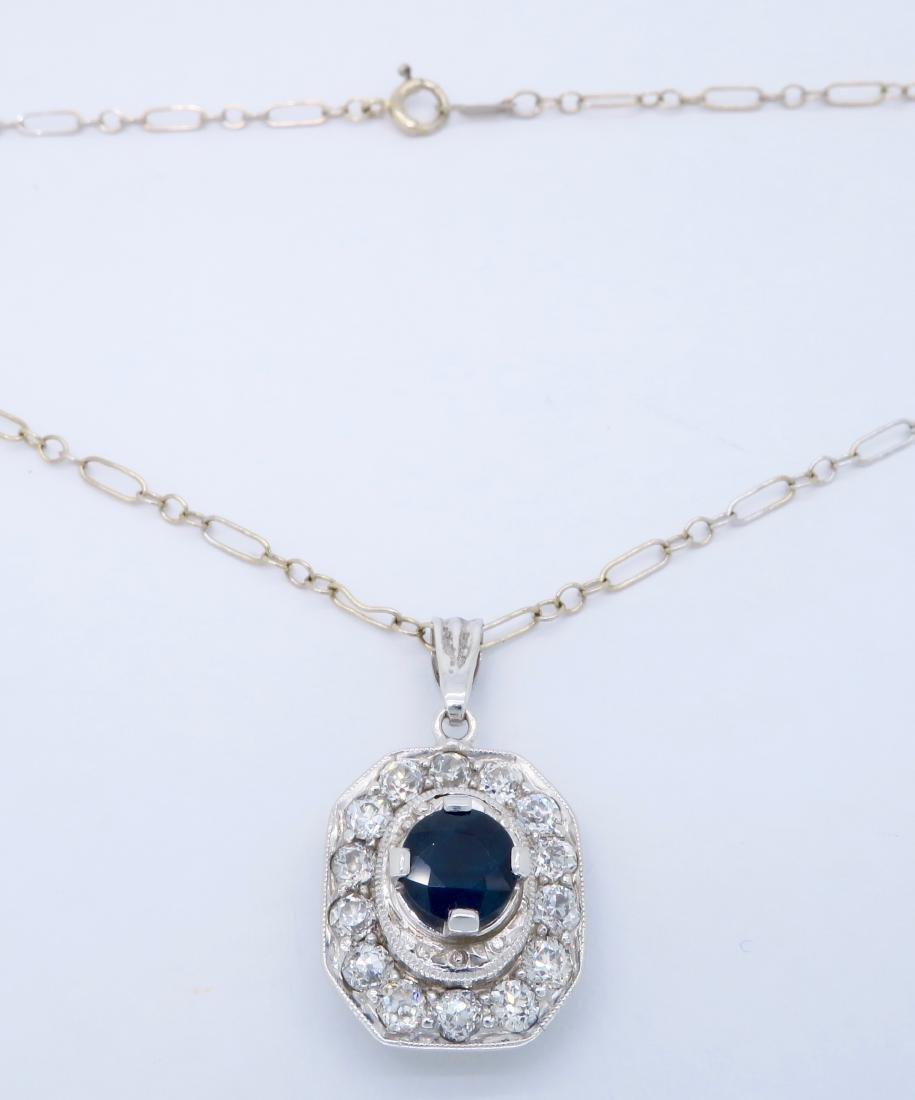 Platinum Blue Sapphire and Diamond Pendant with Chain