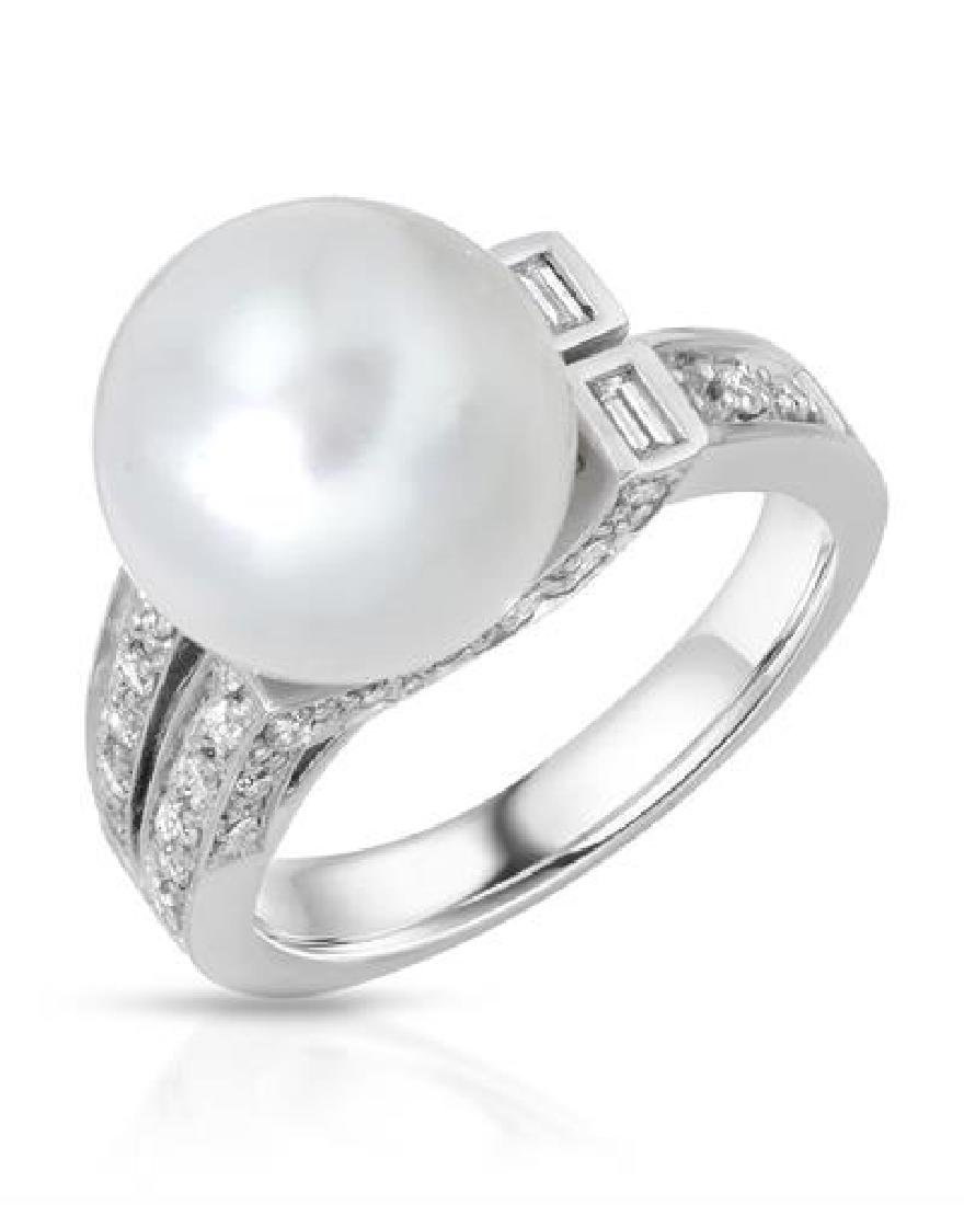 18KT White Gold 7.70ct Pearl and Diamond Ring