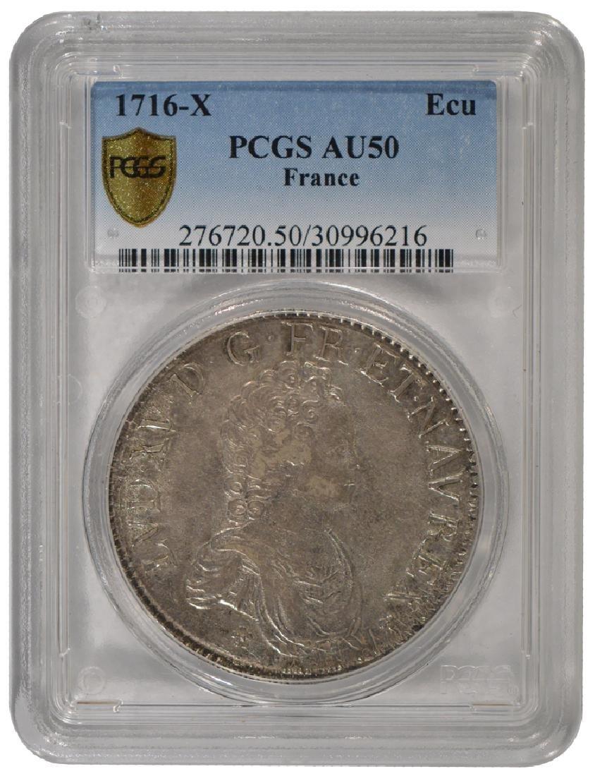 1716-X Louis XV ECU Coin PCGS AU50