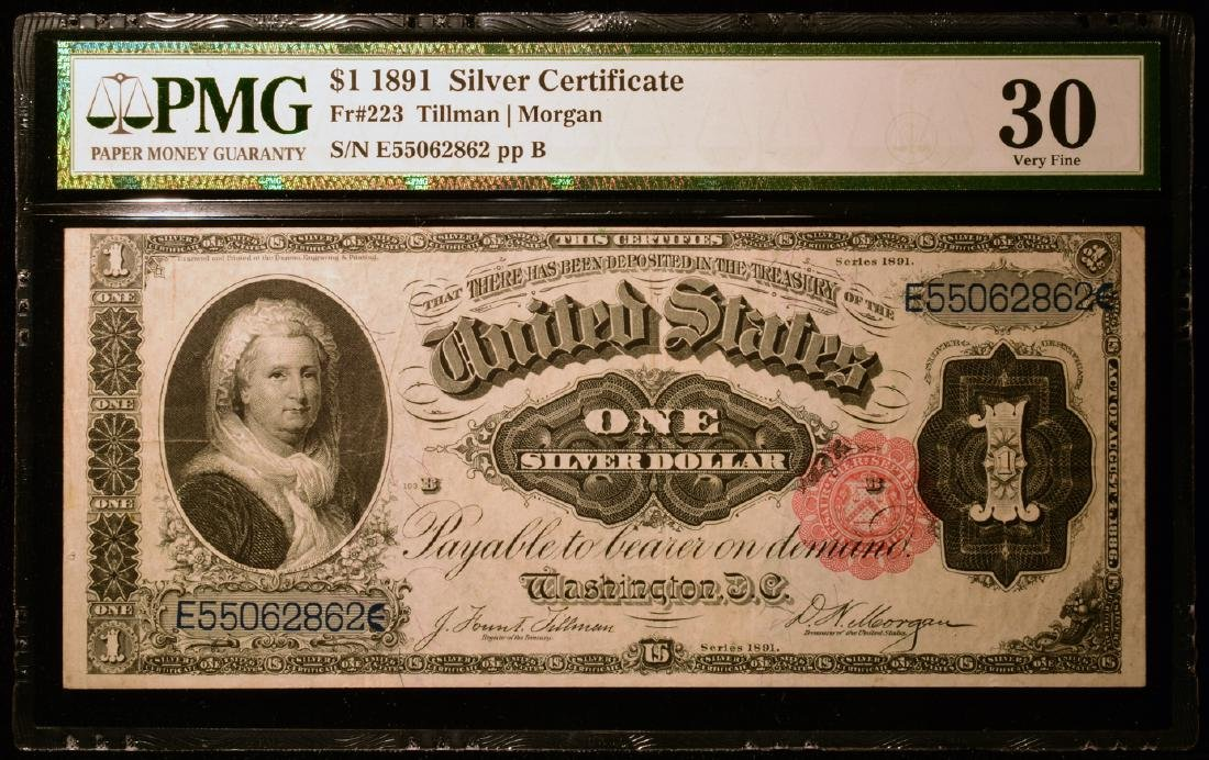 1891 $1 Martha Washington Silver Certificate PMG VF30