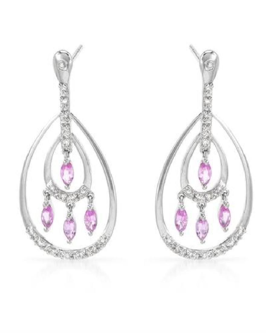 14KT White Gold 0.91ctw Pink Sapphire and Diamond