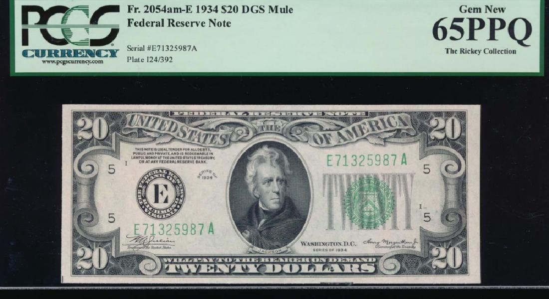 1934 $20 Richmond Federal Reserve Note PCGS 65PPQ
