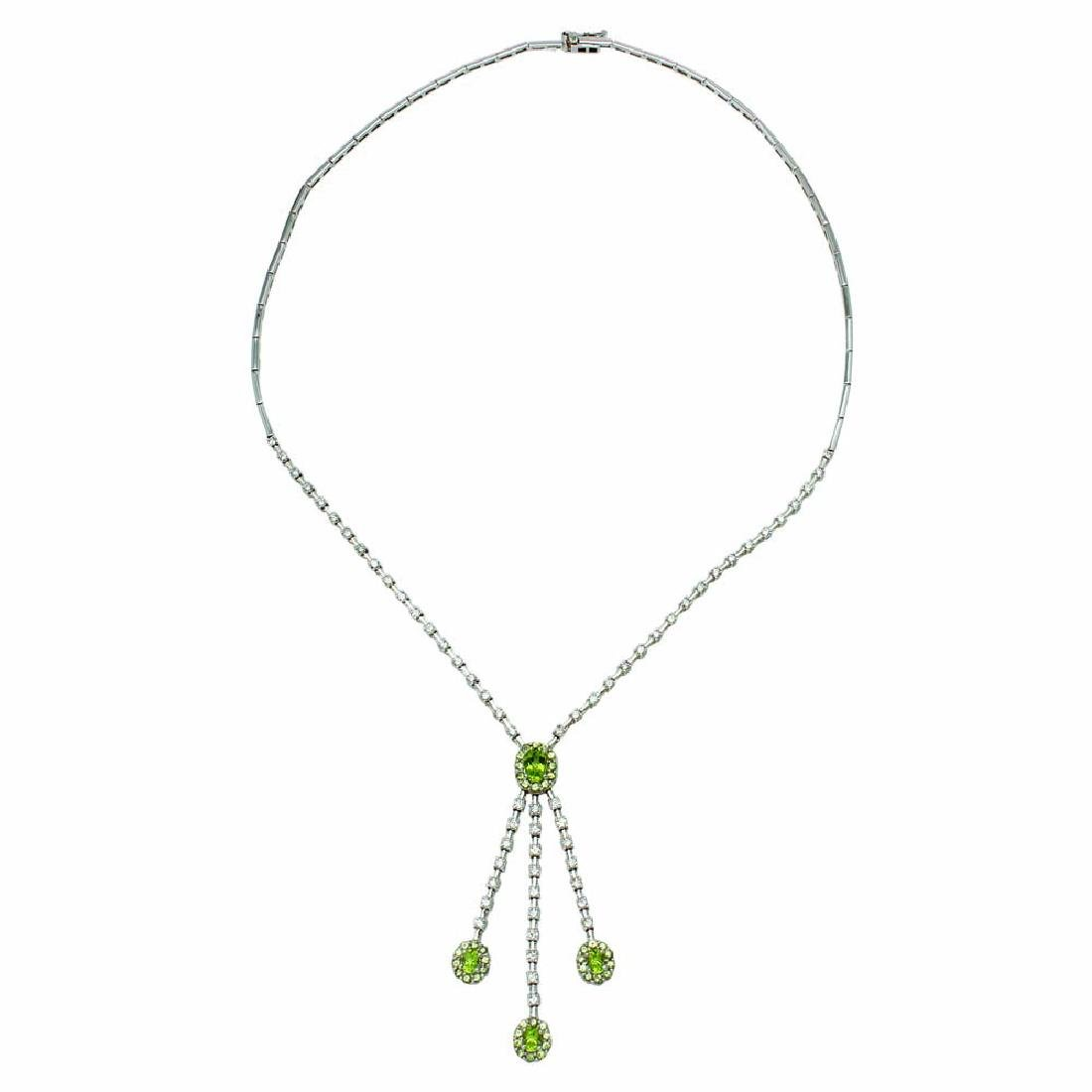 18KT White Gold 1.77ctw Peridot and Diamond Necklace