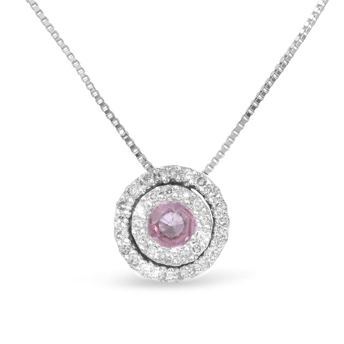 14KT White Gold 0.23ct Pink Sapphire and Diamond
