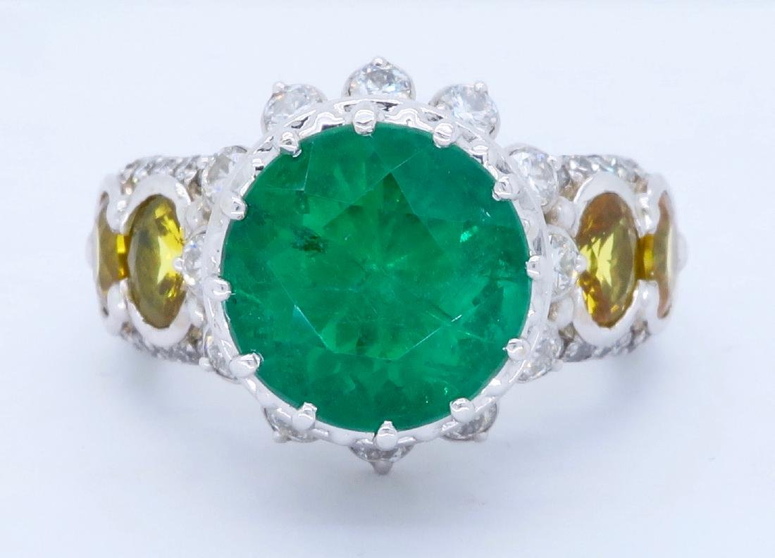 14KT White Gold Emerald and Diamond Ring