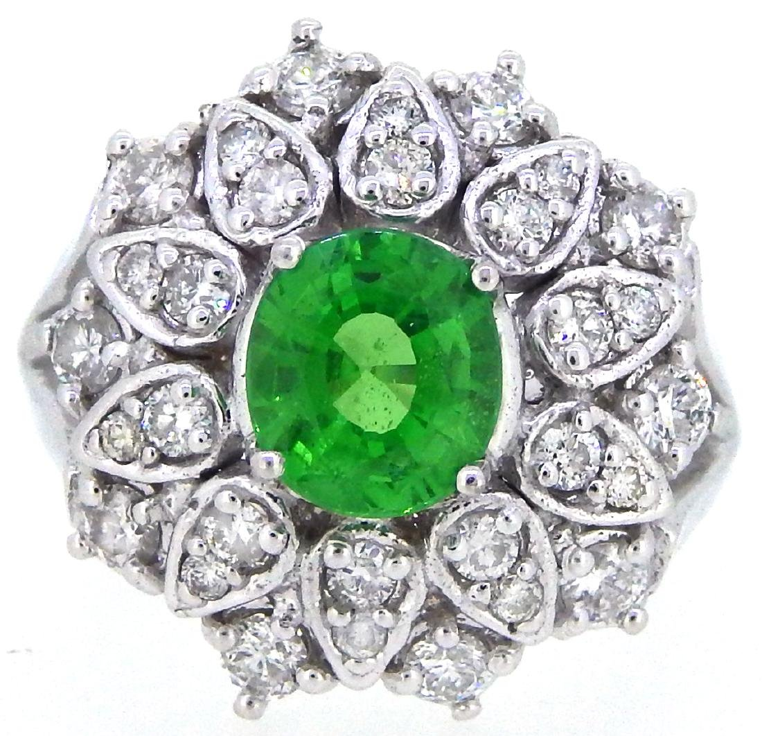 14KT White Gold 1.61ct GIA Cert Tsavorite and Diamond