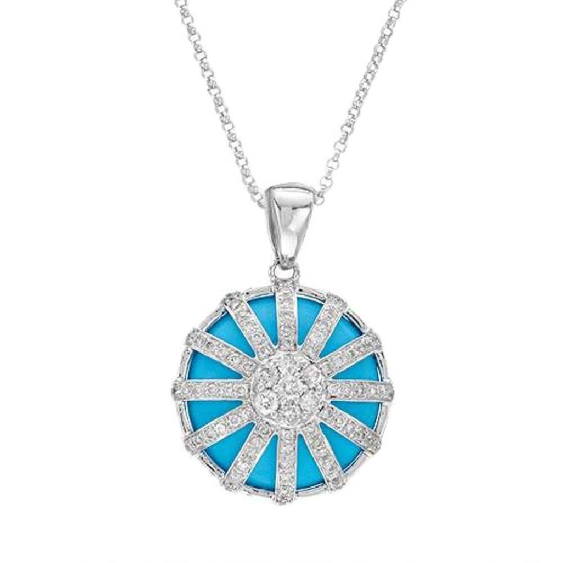 14KT White Gold 9.10ct Turquoise and Diamond Pendant