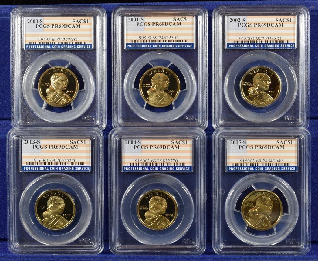 2000-2008-S $1 Sacagawea Proof Dollars PCGS PR69DCAM