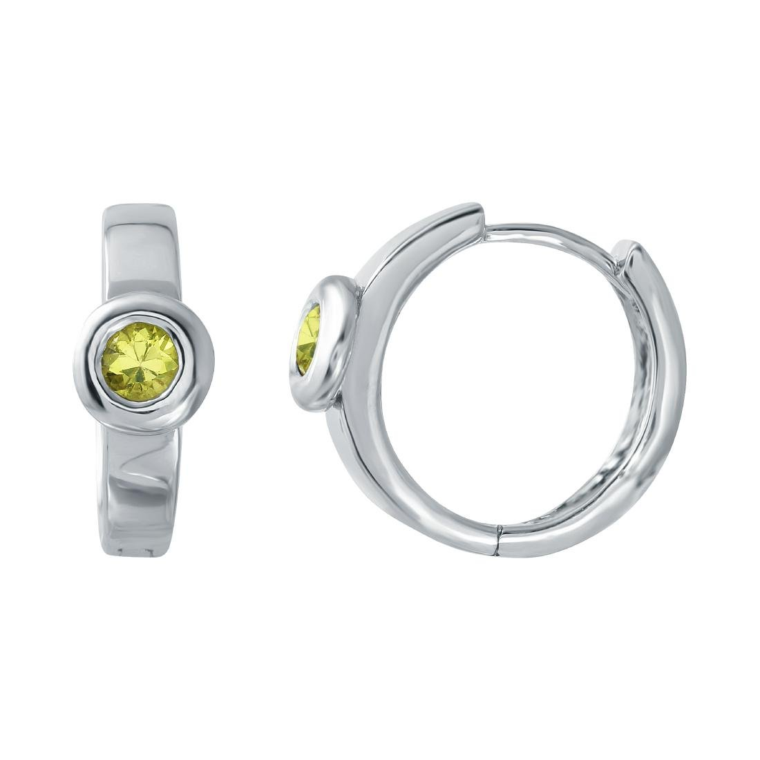 18KT White Gold 0.32ctw Yellow Sapphire Earrings
