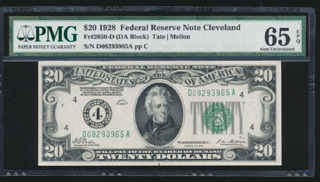 1928 $20 Cleveland Federal Reserve Note PMG 65EPQ