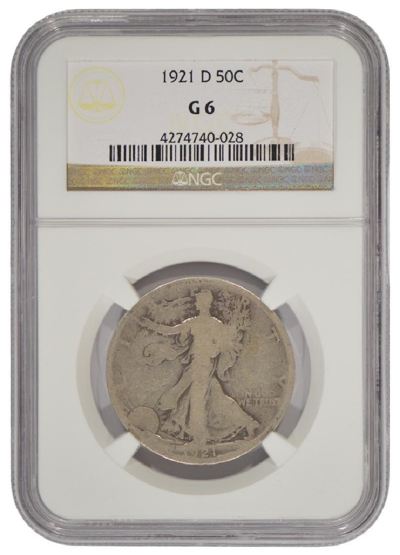 1921-D Walking Liberty Half Dollar Coin NGC G6