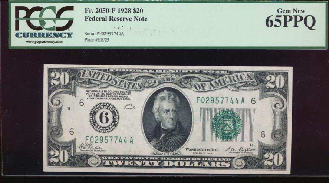 1928 $20 Atlanta Federal Reserve Note PCGS 65PPQ