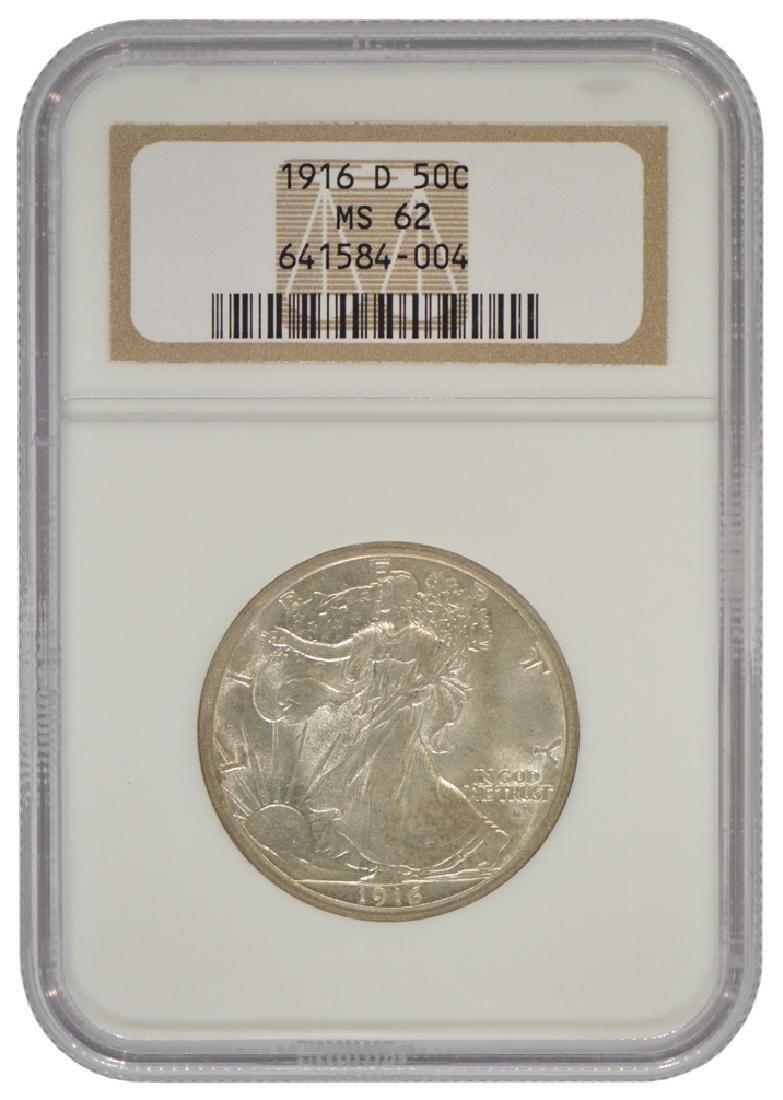 1916-D Walking Liberty Half Dollar Coin NGC MS62