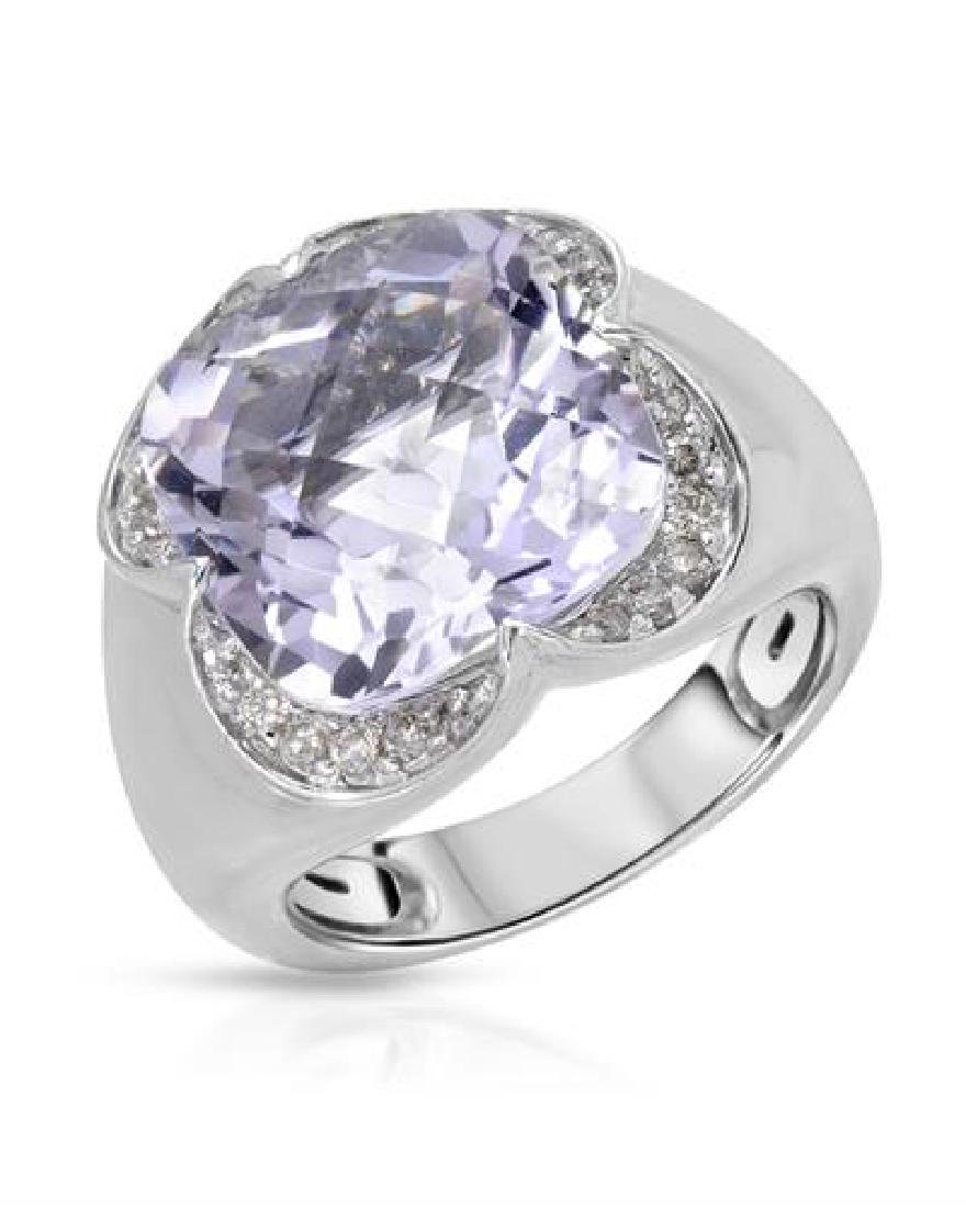 14KT White Gold 8.33ct Amethyst and Diamond Ring