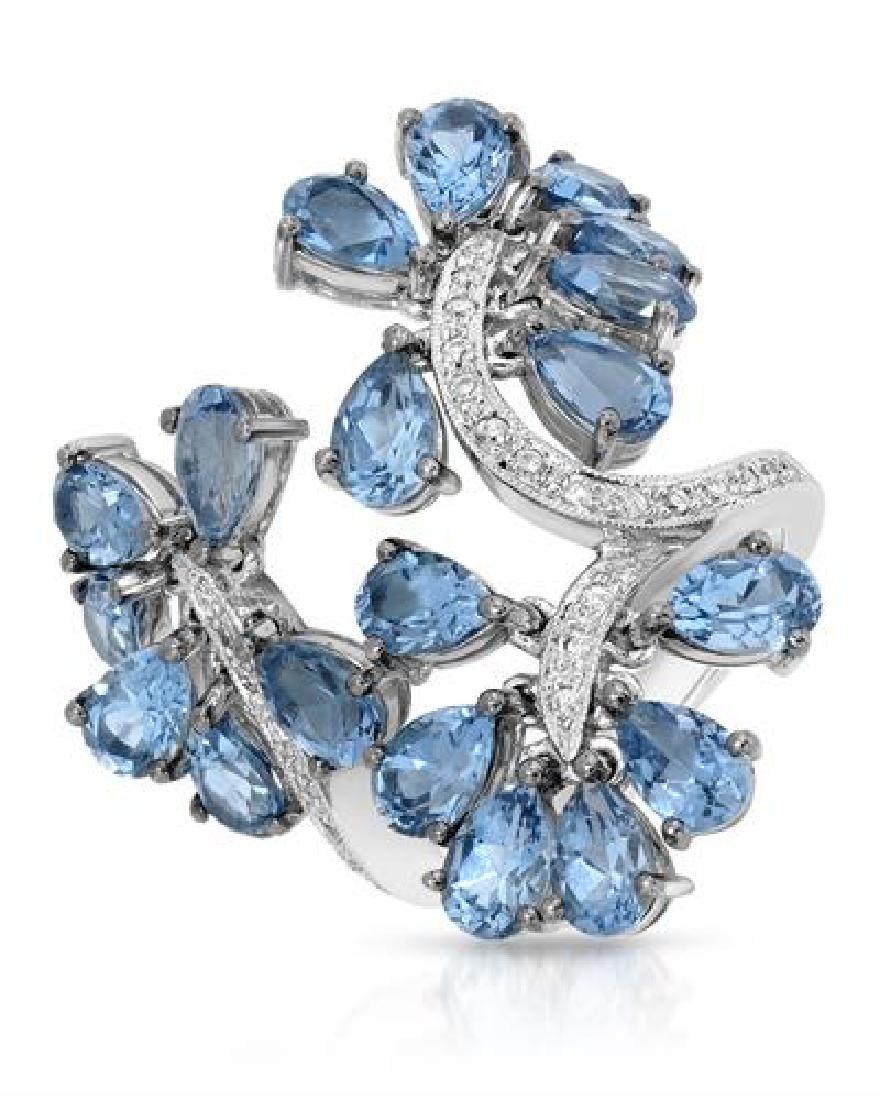 18KT White Gold 9.93ctw Blue Topaz and Diamond Ring