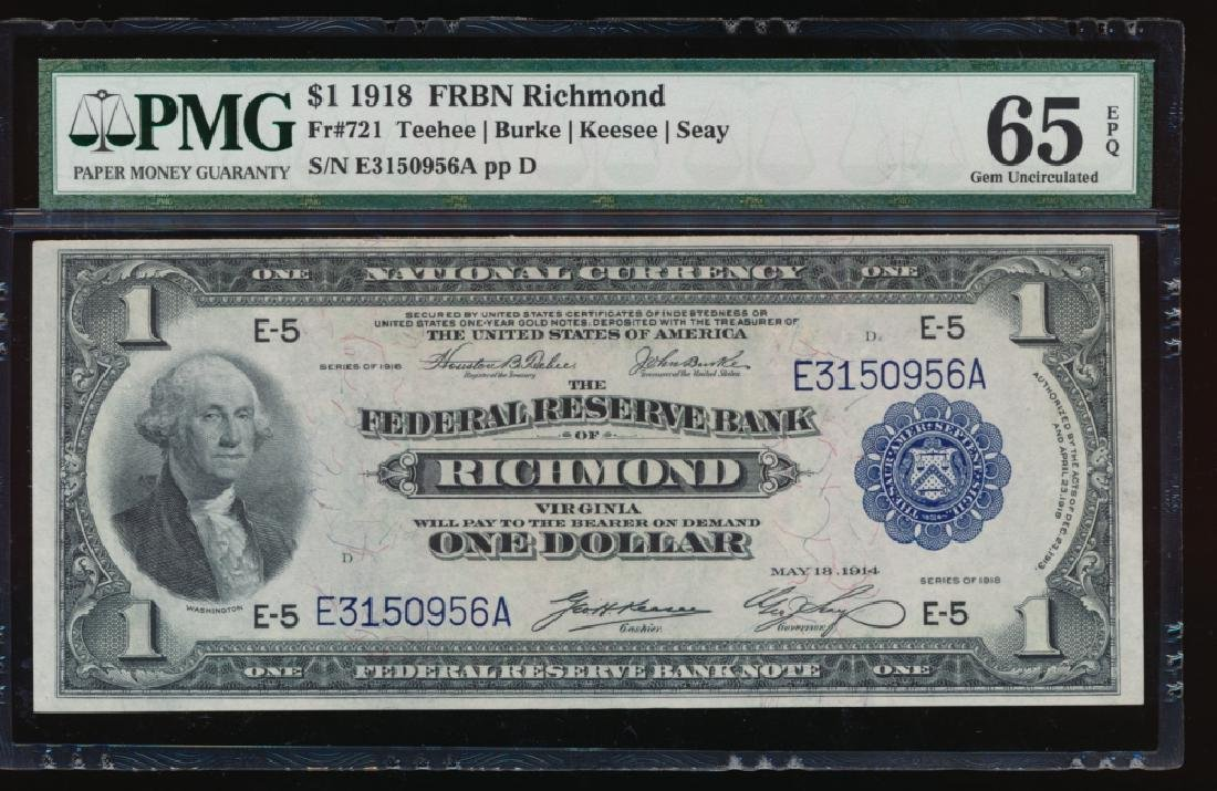 1918 $1 Richmond Federal Reserve Bank Note PCGS 65PPQ