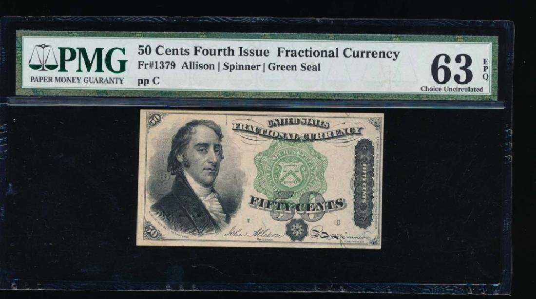 50 Cent Fractional Fourth Issue Currency PMG 63EPQ