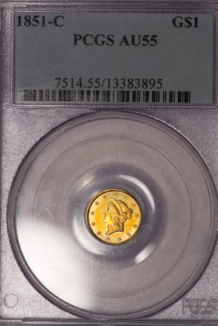 1851-C $1 Gold Coin PCGS AU55
