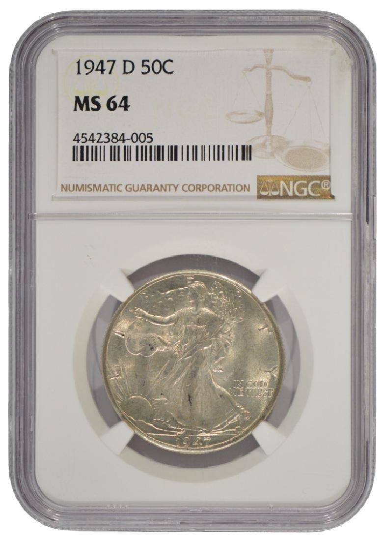 1947-D Walking Liberty Half Dollar Coin NGC MS64