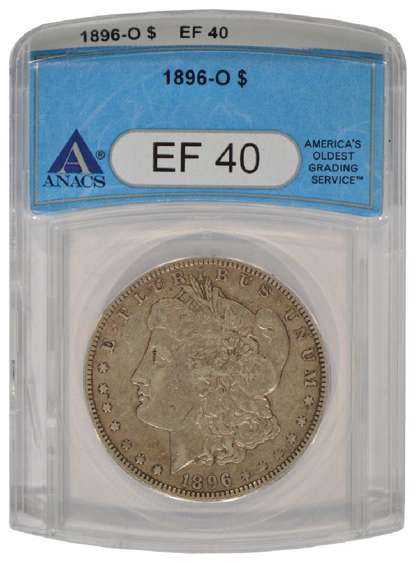 1896-O $1 Morgan Silver Dollar Coin ANACS EF40
