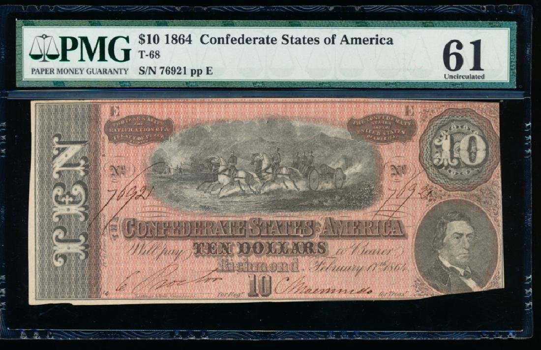 1864 $10 Confederate States of America Note PMG 61