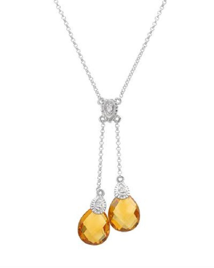 14KT White Gold 4.71ctw Citrine and Diamond Pendant