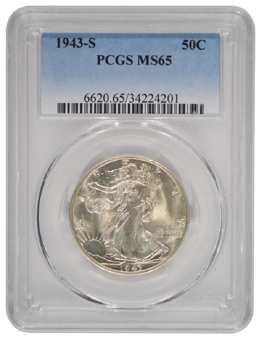 1943-S Walking Liberty Half Dollar Coin PCGS MS65