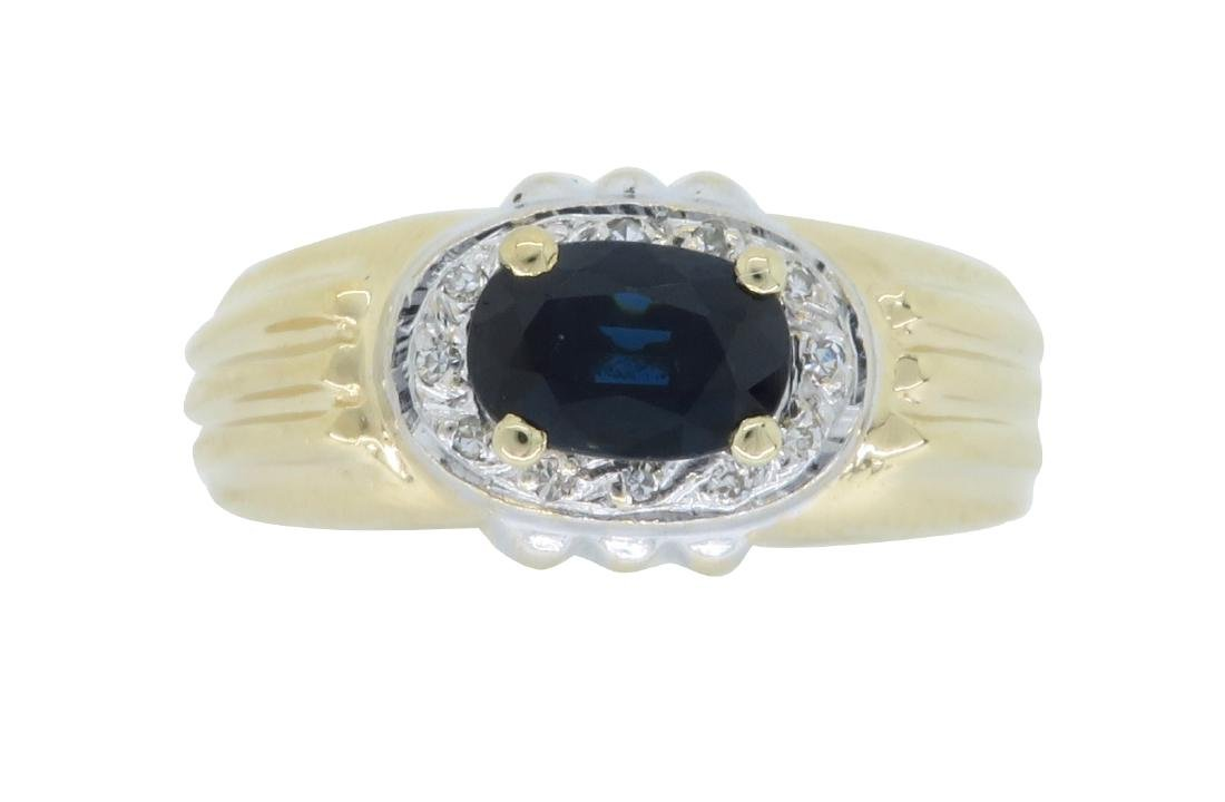 14KT Two Tone Gold Blue Sapphire and Diamond Ring
