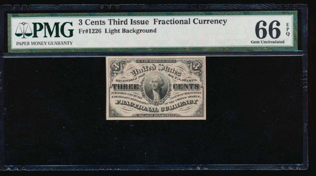 3 Cent Third Issue Fractional Note PMG 66EPQ