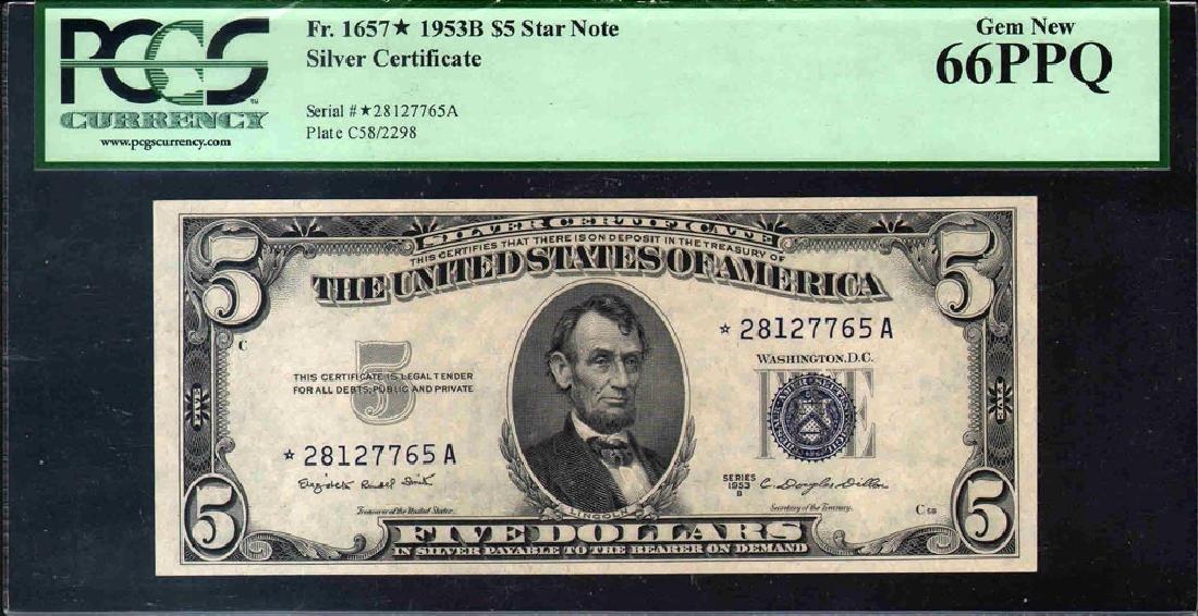 1935B $5 Silver Certificate Star Note PCGS 66PPQ
