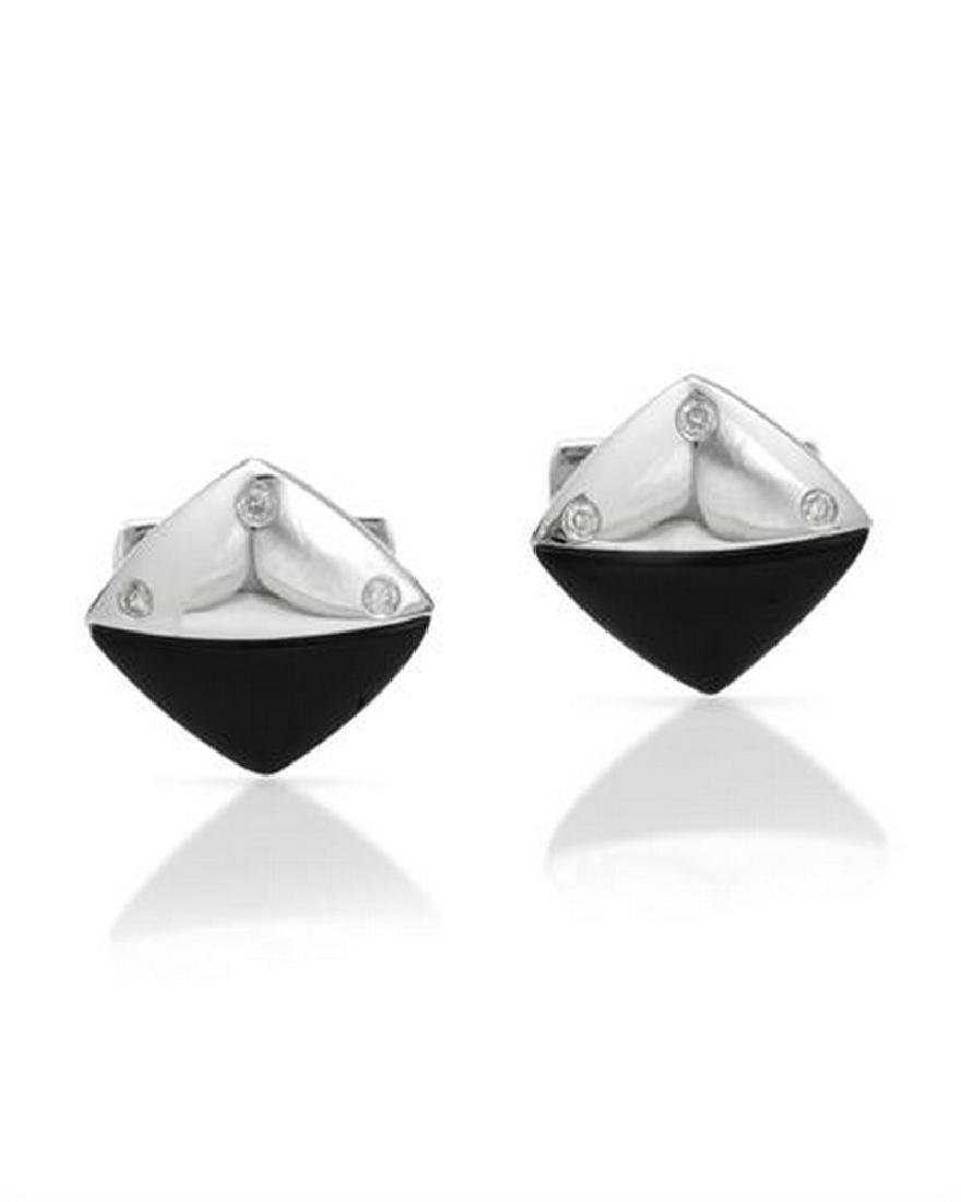 14KT White Gold 4.86ctw Onyx and Diamond Cuff links