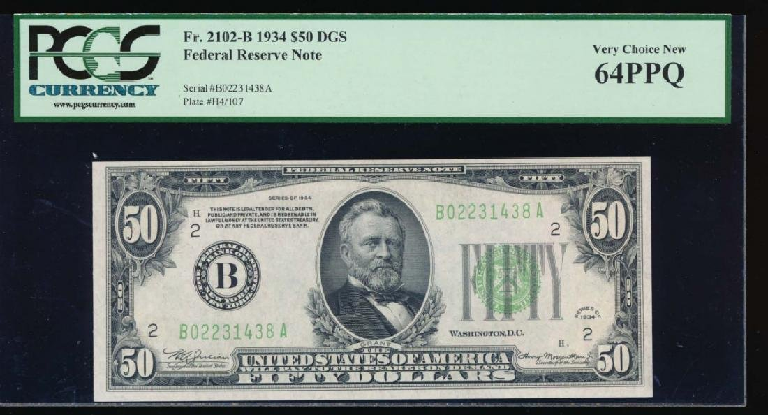 1934 $50 New York Federal Reserve Note PCGS 64PPQ