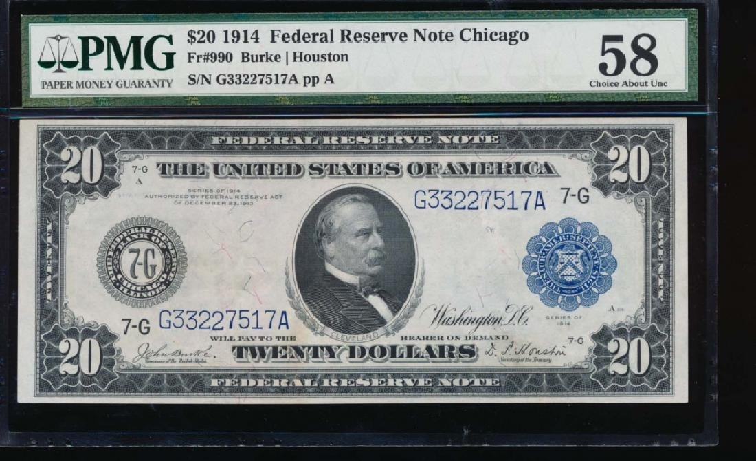 1914 $20 Chicago Federal Reserve Note PMG 58