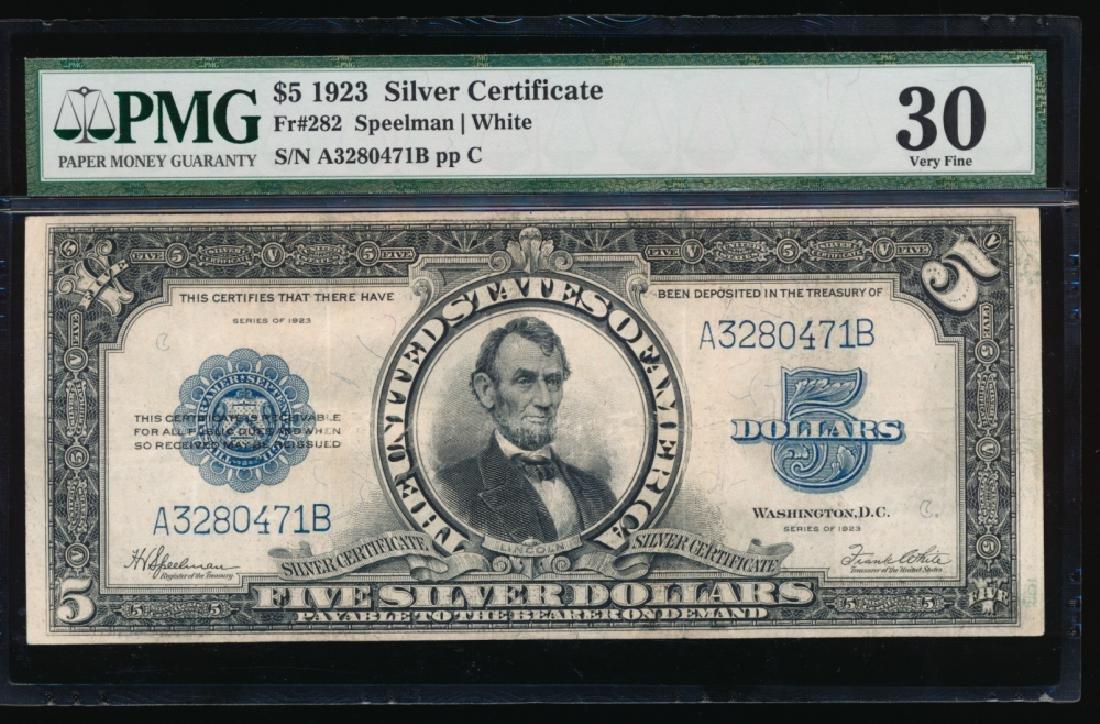 1923 $5 Lincoln Silver Certificate PMG 30