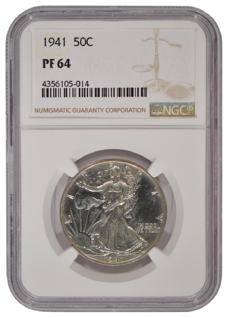 1941 Walking Liberty Half Dollar Coin NGC PF64