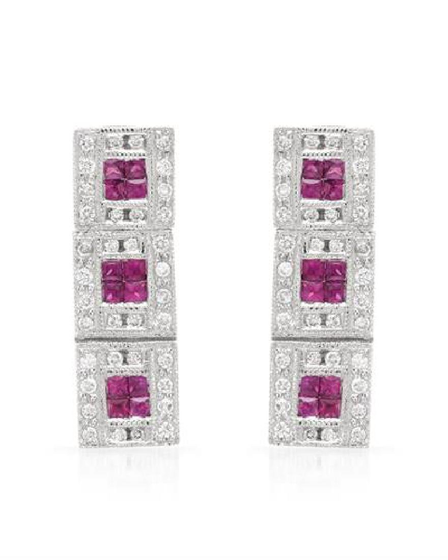 18KT White Gold 0.65ctw Ruby and Diamond Earrings